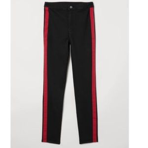 H&M black skinny jeans with red side stripe size 2